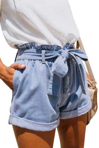 Strappy Paper Bag Waist Denim Short Pants