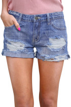 Light Blue Ripped Vintage Denim Shorts