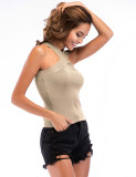 Appealing Pure Color Backless Ribbed Tank Top Criss Cross Snug Fit