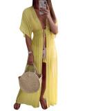 Holiday Waist Slim Light Long Solid Color Beach Dress