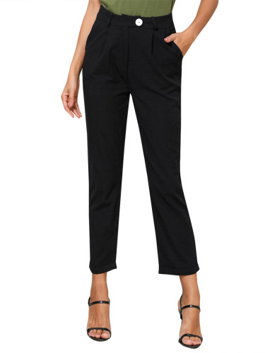 Comfortable Black Straight-Leg Pants Pocket Button Casual Comfort