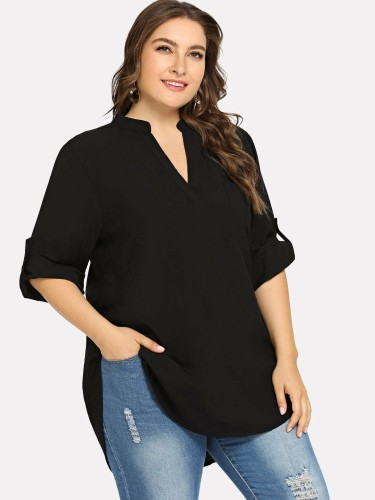 Women's Plus Size Sleeved Button-Down Deep Hem Chiffon Blouse
