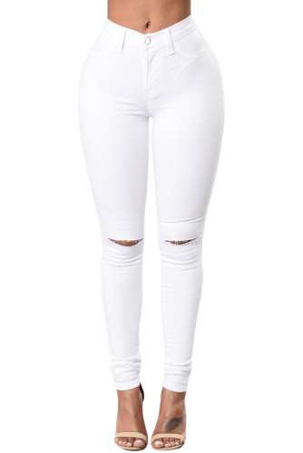 Solid Color Trendy Slit Knee Denim Jeans