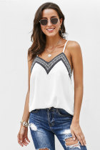 Printed Lace Hemmock Sleeveless Tank Top