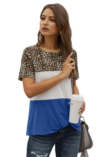 Double Color Stitching Block Leopard Tee