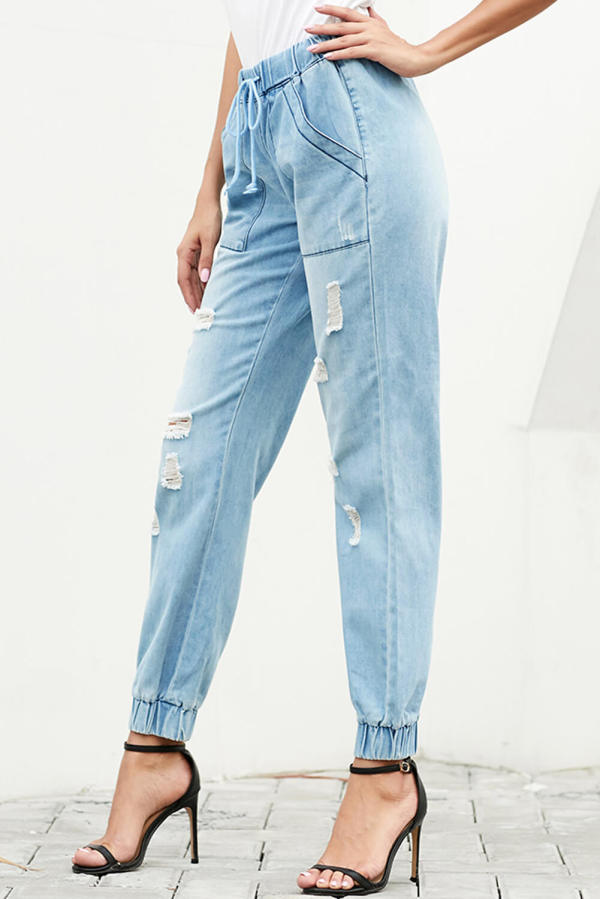 Casual Loose Drawstring Ripped Jeans