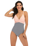 Captivating Plunge Collar Polka Dots Beachwear For Beauty