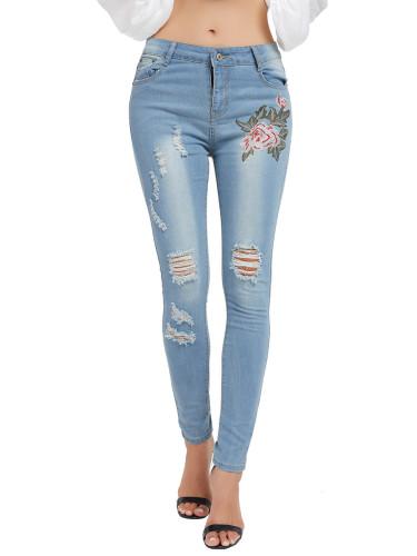 Glamourous Light Blue Flower Pattern Ripped Jeans Pockets Casual Wear