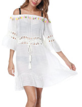 Pool Party White Off Shoulder Tassel Beach Dress Hollow Out Waist