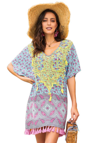 Green Floral Tassel Printed Casual Summer Dress