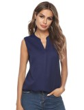Scintillating Thin V Neck High-Low Plain Top Non-Sleeves