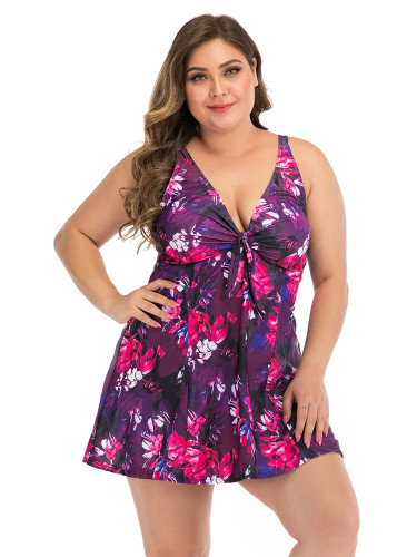 Big Size Floral Paint Tankini Plunge Collar