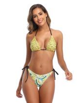 Open Back Wave Pattern Helter Neckline Bikini