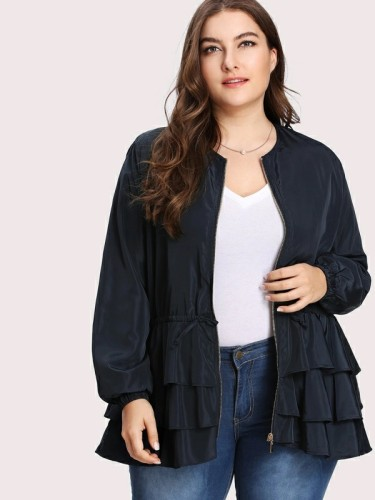 Curved Tiered Layer Ruffle Plus Size Jacket