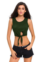 Army Green Tie Front Sleeveless Crop Top