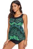 Green Vibrant Print Skirted Tankini Swim Top