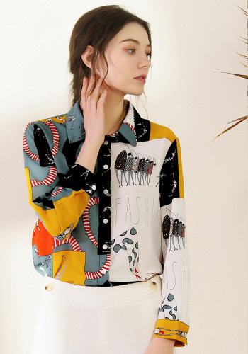 Individual Print Lapel Long Sleeve Shirt Blouse