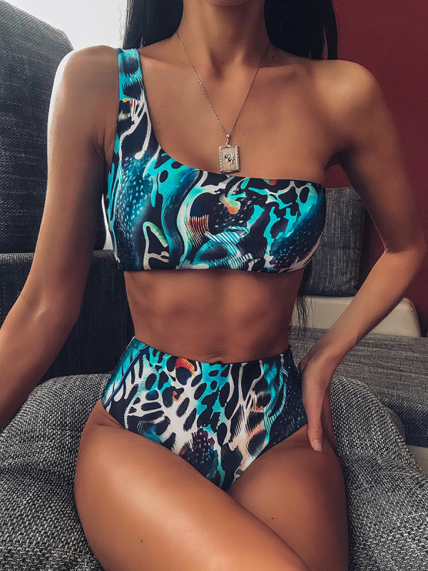 Women's Two-Piece Swimsuit With Snake Pattern On One Shoulder