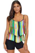 Printed Spaghetti Strap Layered Tankini Top