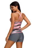 Strip Fuzzy Strappy Back Tankini Top