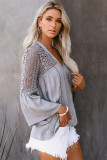 Hollowed Out Shoulder Sleeves V Neck Crochet Blouse