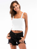 Feminine Solid Color Backless Square Collar Cropped Top Cropped For Traveling