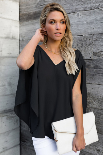 V-Neck Back Bowknot Three-Quarter Sleeve Slit Blouse
