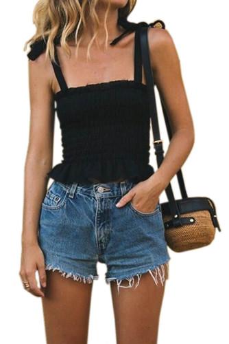 Frill Tie Shoulder Strap Vest Crop Top