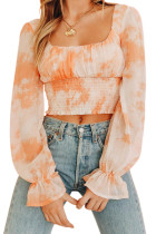 Square Neck Tight Waist Shirred Long Sleeve Crop Top