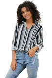 Women's Multicolor Patchwork Striped Shirt