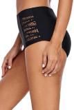 Black Strappy Lace Panel Aside Swim Bottom