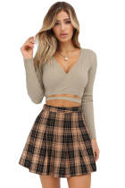 Wrap V Neck Tie Waist Ribbed Crop Top