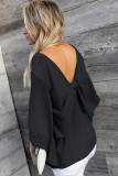 V-Neck Back Bowknot Three-Quarter Sleeve Slit Blouse