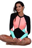Zip Up Neckline Color Block Rashguard Top