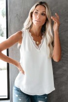 Eyelash Lace V Neck Pure Color Tank Top