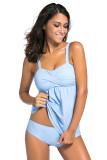 Colour 2Pcs Swing Tankini Swimsuit