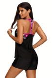 Mint Blouson Style Floral T-back Tankini Top