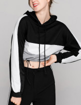 Stylish Mixed Color Long Sleeve Sweatshirt Hooded Collar