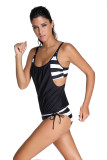 Black Layered-Style Cross Back Tankini with Triangular Briefs