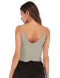 Bowknot Crop Tank Top V-Neck Pure Color For Streetshots