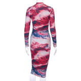 2020 print tie dye long sleeve colorful sexy midi dress autumn winter women bodycon party streetwear outfits