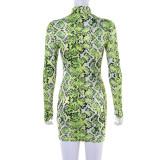 Neon Snake Print Bodycon Mini Dress Women Long Sleeve 2020 Autumn Fashion Dresses Party Clubwear Sexy Hot Female Dress