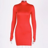Fashion Plaid Women Dress Long Sleeve Turtleneck Sexy Hot Bodycon Dresses 2020Autumn Skinny Basic Clubwear Mini Dress