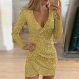 Classy Cross Hem Mini Dress Deep V-neck For Traveling  irregular skirt sequined dress  Women Long Sleeve Dress