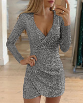 Classy Cross Hem Mini Dress Deep V-neck For Traveling  irregular skirt sequined dress  Women Long Sleeve Dress