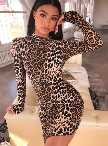 long sleeve high neck leopard print sexy bodycon mini dress 2020 autumn winter women fashion Christmas party clothes