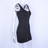 sleeveless V-neck zipper backless sexy bodycon mini dress 2020 summer women fashion black party clothes