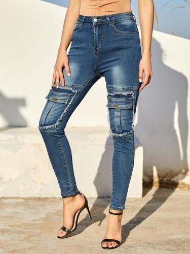 Sweety Blue Knee False Pockets Jeans High Waist Outfit Fake pocket high-waisted stretch tight pants feet