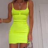 neon orange solid spaghetti straps sexy bodycon mini dress 2020 summer women high waist party club streetwear clothes