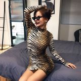 long sleeve high neck leopard print sexy bodycon mini dress 2020 autumn winter women fashion Christmas party clothes